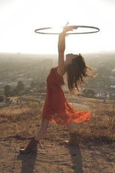 Lulu Lam hooping with a Hoopnotica hula hoop...