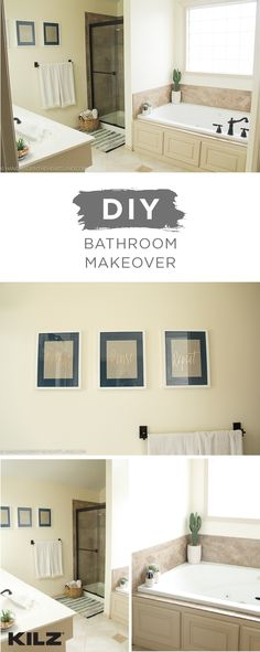 You don't need a bunch of fancy tools to have the bathroom of your dreams. This DIY bathroom makeover from Angela, of Handmade in the Heartland, is full of easy design inspiration. Angela painted her master bathroom a neutral shade of Cottage White. This chic, durable interior paint offers stylish color and reliable protection against mildew, cracking, fading, or peeling.