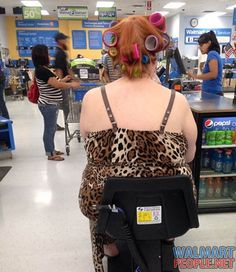 Electric Scooter and Multi-Colored Curlers at Walmart. Fail: Man these people at walmart are crazy. You would think she would take out the curlers Only At Walmart, People Of Walmart, People Failing, Walmart Shoppers, Funny People Pictures, People Shopping, Walmart Photos, Bad Hair Day, Crazy People