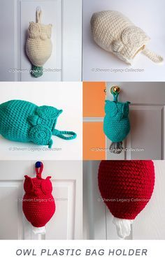 Owl Plastic Grocery Bag Holder Pattern - Crochet Kitchen and Home Decor This is a unique, yet beautiful, plastic bag holder that will add a touch of style and sophistication to any home. Excellent for organizing plastic bags. Crochet Diy, Unique Crochet, Crochet Home, Crochet Gifts, Crochet Mandala, Diy Bags Holder, Plastic Bag Holders, Plastic Bag Crochet, Crochet Free Patterns