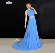 Bateau Neckline Formal Dress in Ocean Blue Style 3301 Size 16 by Miracle Agency Formal Bridesmaids Dresses, Prom Dresses, Bridal And Formal, Blue Style, A Line Gown, Flowy Skirt, Bateau Neckline, Formal Evening Dresses, Blue Fashion