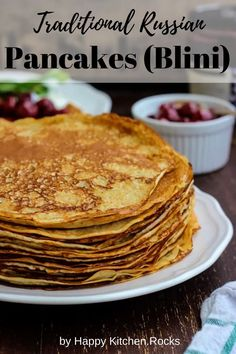 Russian pancakes (blini), also known as blinis or blinchiki, are near and dear to the people of Russia and the former USSR. Russian Dishes, Russian Desserts, Russian Foods, Ukrainian Recipes, Russian Recipes, Lithuanian Recipes, Traditional Russian Food, Recipe For 10, Recipe Box
