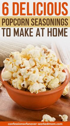 These delicious popcorn seasonings are just the thing to enjoy with the family for movie night. I'm sharing 6 of my favorite combinations. Homemade Popcorn Seasoning, Flavored Popcorn, Homemade Spices, Homemade Seasonings, Seasoning Recipe, Popcorn Toppings Healthy, Healthy Popcorn Recipes, Coconut Oil Popcorn, Snack Recipes