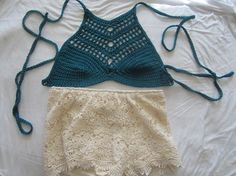 TEAL CROPPED TOP Crochet halter top festival by Elegantcrochets