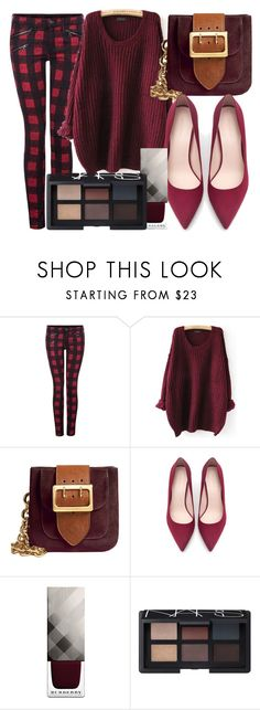"""""""Untitled #546"""" by sara-bitch1 ❤ liked on Polyvore featuring Dex, Burberry, Zara and NARS Cosmetics"""
