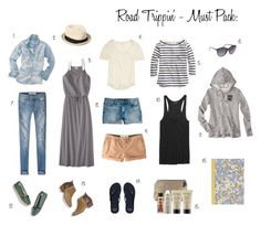 Road Trip - What to Pack by workyourcloset on Polyvore featuring J.Crew, Madewell, Abercrombie & Fitch, Jack Wills, Forever 21, VonZipper, Alterna and Mossimo Supply Co.