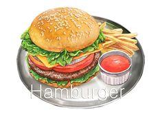 food illust hamburger
