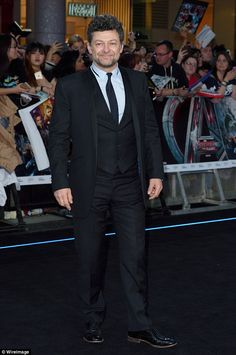 So that's what he looks like: Andy Serkis, pictured at The Avengers: Age Of Ultron premiere in London in April,  will play Supreme Leader Snoke in Star Wars: The Force Awakens (AS158)