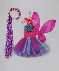 Take a look at this Pink & Turquoise Fairy Tutu Dress Set - Toddler & Girls by Blow-Out on #zulily today!