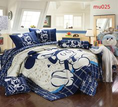 bed linen on sale at reasonable prices, buy twin full queen king duvet covers cartoon bedding set cute mickey character printed boys children's girl's bed linens from mobile site on Aliexpress Now! Cama Mickey Mouse, Mickey Mouse Bett, Mickey Mouse Comforter, Mickey Mouse Bed Set, Mickey Mouse Bedroom, Disney Bedding, King Size Comforters, Queen Bedding Sets, Comforter Sets
