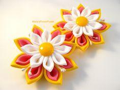 Handmade Kanzashi ladies girls hair clips - buy in UK, shipping worldwide-Handmade fabric flower pins grips by MARIASFLOWERPOWER on Etsy