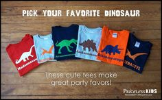 Personalized dinosaur tshirt featuring Trex and by PricelessKids, $16.00  these are cute for party favors!