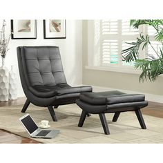 The deluxe atomic lounge chair and ottoman feature a sleek design that nods to mid century modern aesthetics. The grid tufted cushioning adds comfort and high style to this faux leather set, complete with detailed stitching.