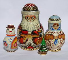 Carved Russian Santa Nesting Doll | eBay
