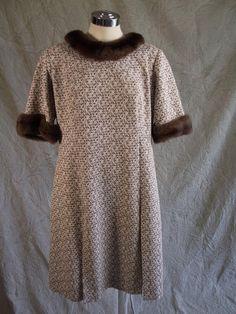 Vtg 60s Mod Pleat Skirt A-line Brown Cream Mini Dress Mink Collar Cuffs XL
