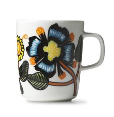 Erja Hirvi's vintage styled Tiara pattern is inspired by classic Marimekko textiles. Modern florals with a retro vibe. Crafted from hard, glazed Marimekko, Design Shop, Stoneware Mugs, Pyrex, Surface Design, Pattern Design, Arts And Crafts, Bloom, Colours