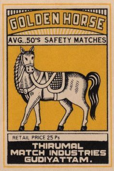 Phillumenart - Golden Horse Avg. 50's Safety Matches - art prints and posters