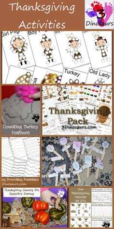 Thanksgving Activities & Printables on 3Dinosaurs.com