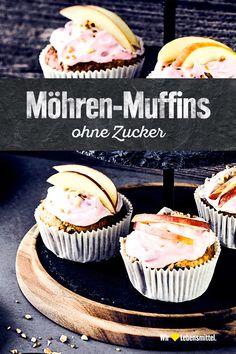 Backen ohne Zucker, wir zeigen wie es geht. Unsere Möhren-Muffins kriegen ihre Süße durch die Möhren, Mandeln und Apfelmus. #edeka #muffins #ohnezucker #mitliebe #rezept