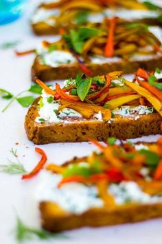 Herbed Goat Cheese Toasts with Balsamic Roasted Sweet Peppers