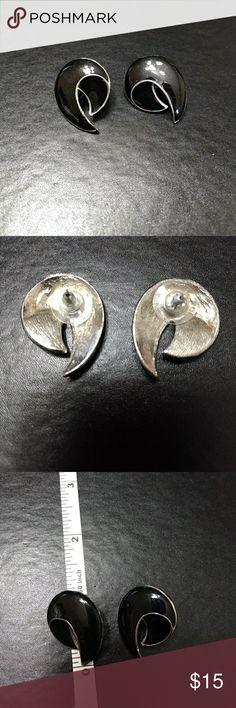 Silver tone earrings Silver fashion earrings with swirly black enamel. Jewelry Earrings