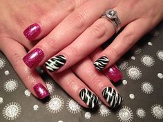 Gel nails, pink, black, zebra