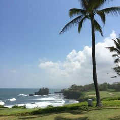 Dreaming of a round of #golf? Nirwana golf and country club is the place. Hole 7 view on #Tanahlot  #temple #bali