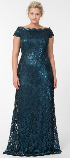 4b51a2f0f71 Paillette Embroidered Lace Off Shoulder Gown in Starry Night - Evening Gowns  - Plus Size Evening Shop