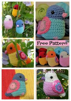 Crochet Bird Amigurumi – Free Pattern #amigurumi #freepattern Crochet Bird Patterns, Crochet Giraffe Pattern, Crochet Birds, Plush Pattern, Cute Crochet, Amigurumi Patterns, Crochet Animals, Crochet Yarn, Crochet Toys