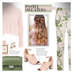 """""""So Sweet: Pastel Sweaters"""" by beautifulplace ❤ liked on Polyvore featuring Calvin Klein 205W39NYC, Minnie Rose, Franco Sarto, Design Inverso and Gucci"""