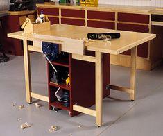 Drop-Leaf Workbench Woodworking Plan from WOOD Magazine Workbench Plans, Woodworking Workbench, Woodworking Furniture, Woodworking Workshop, Folding Workbench, Garage Workbench, Industrial Workbench, Workbench Designs, Desk Plans
