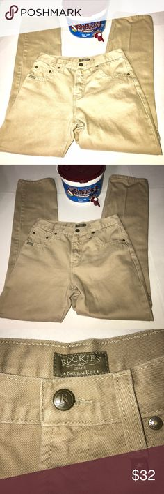 """🎉New listing Rockies tan jeans natural rise sz 6 Rockies brand jeans. Tan. No pockets on back. Has front pockets. Size 6. Relaxed. Natural rise. Measures approximately 30"""" in the waist and approximately 32"""" inseam. GUC. Bundle with other items in my closet to save even more. Rockies Jeans"""