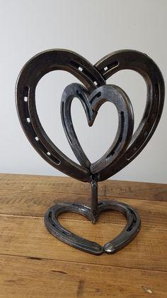 Pendentif fer à cheval de coeur Centre de table - centre de table mariage rustique - coeur Decor - rustique coeur - décor de mariage rustique - cadeau Saint-Valentin