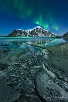 Sand Patterns, by Maciej Bartnicki.... #nordic #Aurora #Auroraborealis #Beach #Flakstad #Lofoten #LofotenIslands #Moskenesøya #Mountain #Night #Nightscape #Nordland #NorthernLights #Norway