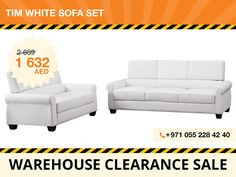 This Tim white sofa set leaves a lasting impression to visitors of Your home with this timeless modern design. Perfect not only for living rooms but also for offices, the set features removable seat cushions and elegant white faux leather upholstery. The set is built on eucalyptus wood frame and includes a three-seater and two-seater.