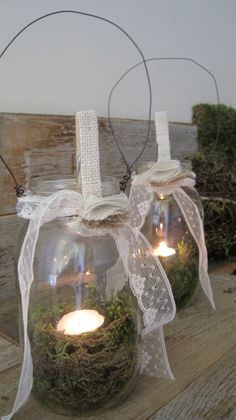moss in votives with tealights