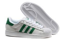 Femmes Adidas Superstar II Chaussures Classique Vert Blanc