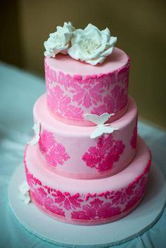 Soft pink damask birthday cake