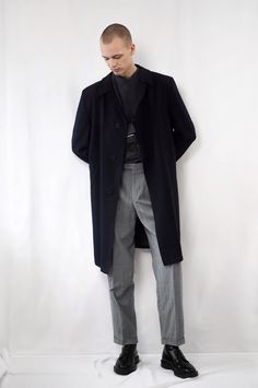 Wearing my favourite vintage coat, COS jumper, Dr.Martens boots (men, style, clothes, outfit, inspo, menswear, fall, winter, season, male, fashion, white, grey, black, navy)