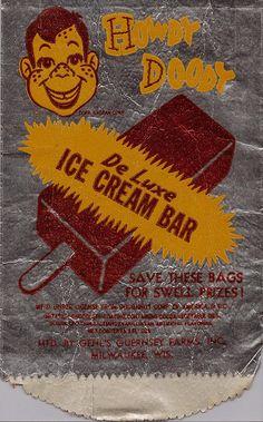 Howdy Doody De Luxe Ice Cream Bar wrapper. via Flickr.