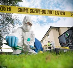 A crime scene investigator collects potential evidence (via The Daily Mail).