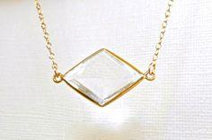 Clear Quartz Necklace - Rock Crystal - Gemstone Necklace - Bezel Set in Gold Vermeil - Diamond Shaped, ADPi, Framed Stone Jewelry