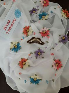 B 13, Needle Lace, Blouse Designs, Paper Flowers, Paper Crafts, Rainbow, Gull, Handmade, Bullion Embroidery