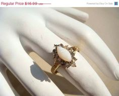 SALE Vintage Gold Opal Ring Size 55 by PaganCellarJewelry on Etsy, $14.44