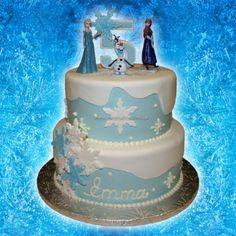 2 Tier Buttercreamfondant Disney Frozen Birthday Cake With Anna Elsa And Olaf