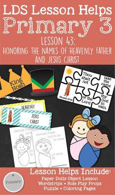 """LDS Primary 3 CTR Lesson """"Honoring the Names of Heavenly Father and Jesus Christ"""" Lesson Helps including coloring pages, teaching tips, activity ideas, role play games, and more! Lds Primary, Primary Lessons, Singing Time, Object Lessons, Relief Society, Activity Days, Teaching Materials, Role Play, Teaching Tips"""