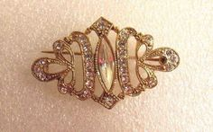 Vintage Victorian AB Rhinestones Inlay Gold Plated Scrollwork Brushed Brooch