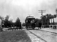Mule powered car that ran between the Breakers Hotel and the Royal Poinciana, 189? Courtesy: State Archives of Florida, Tallahassee, FL (USA)