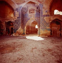 Pointed Arch Portal With Remains of the Glazed Tile Decoration in the Blue Mosque of Tabriz, Iran