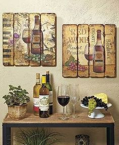 Set Of 2 Printed Pallet Wall Art Hangings Wine Bottle Vineyard Theme Home  Decor